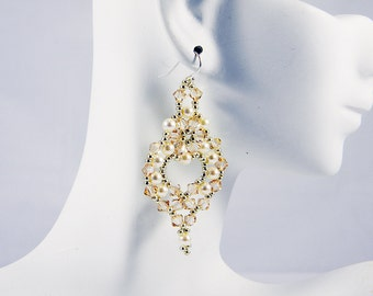"READY TO SHIP Golden Shadow Cream Pearl Swarovski Beadweaving Earrings ""Opulence"""