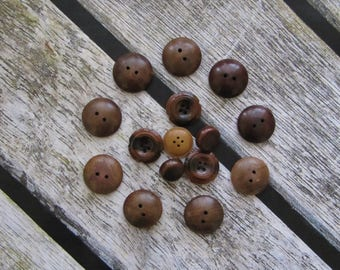 Set 16 Large Wooden buttons supplies craft buttons vintage buttons USSR button wood buttons doll making button sewing buttons old