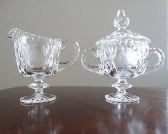Vintage Cut Glass Sugar and Creamer Set