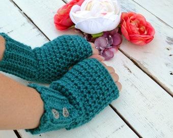 Teal green fingerless gloves, arm warmers, wrist warmers, crochet arm warmers, crochet gloves, texting gloves, mittens, festival gloves