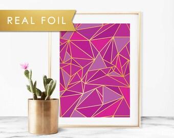 Purple Mosaic Geometric Foil Art Print 11x14, 8x10, 5x7