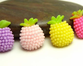 Pineapple Resin Cabochons - 8pcs - Assorted Colors, Flatback Cabs, Scrapbook Embellishments - 12x10mm - BP39