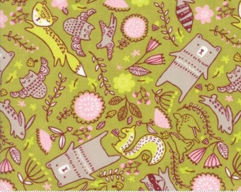 Just Another Walk In The Woods by Stacy Iest Hsu for Moda - Children's Forest Furries - Green - FQ - Fat Quarter Cotton Quilt Fabric  1216