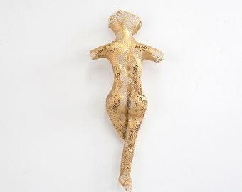 Small sexy nude figure torso,  home decor, metal wall art, Metal art sculpture, miniature abstract Nude torso