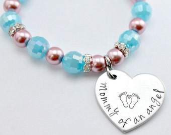 Pink and blue Hand stamped Mommy of an Angel heart bracelet