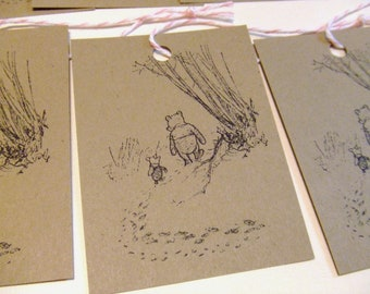 Classic Winnie the Pooh and Piglet Gift Tags - Set of 6