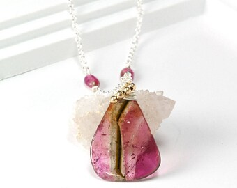 Watermelon Tourmaline Silver necklace - Watermelon Tourmaline slice pendant layering Necklace, October Birthstone jewelry, Handmade Gift