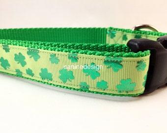 St Patricks Dog Collar, Shiny Shamrocks, 1 inch wide, adjustable, quick release, metal buckle, chain, martingale, hybrid, nylon