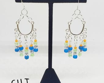 Silver chandelier earrings, orange and blue earrings, silver and green earrings, handmade, ready to ship, gifts for women, free shipping