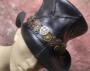 steampunk top hat -- Burning Man -- Diesel Punk -- Made in the USA -- Leather Tophat -- Large size READY to SHIP!