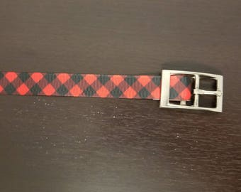 "3/4"" Red and Black Plaid Dog Collar"
