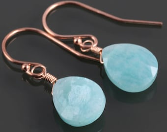 Amazonite Earrings. Rose Gold-Filled Ear Wires. Genuine Gemstone. f17e036