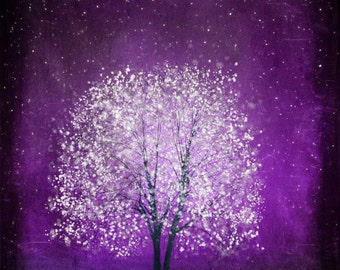 Violet Daze -- 11x14 purple tree art print giclee print, art, tree art,print,gift,art collectibles,wall art,wall decor,wall decor