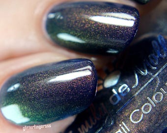 """Nail polish - """"Midnight Serenade"""" A dark blue with pink/gold/green multichrome shimmer"""