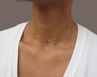 Dainty Choker Necklace, Gold Chain Choker, Turquoise Choker, 14K Gold Necklace, Gold Necklace Dainty, Chain Choker, Delicate Gold Necklace