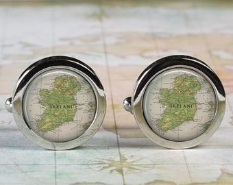 Ireland cuff links, Ireland map cufflinks wedding gift anniversary gift for groom gift for him groomsmen best man Father's Day gift