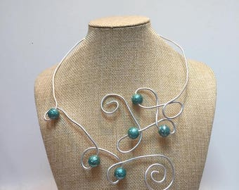 Jewelry necklace aluminum silver adjustable blue beads