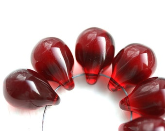 10x14mm Dark Red Teardrop beads, Large briolettes, Transparent Red czech glass drops - 6Pc - 2562