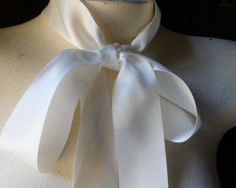 """5 YDS Ivory Satin Ribbon 1.5"""" width Double Face for Bridal, Sashes,  Millinery, Floral Design"""