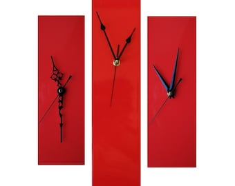 CLC Contemporary Slim Long Wall Clock RED 30cm or 40cm
