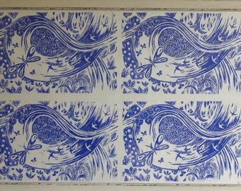 Blue stream repeated, lino print.
