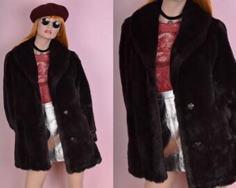 80s Dark Brown Faux Fur Coat/ US 6/ 1980s/ Jacket