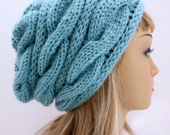 Hat Knitting Pattern Winter Hat, Slouchy Hat