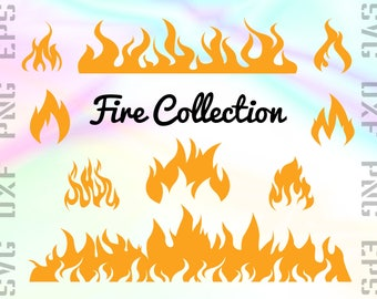 Fire SVG Files - Fire Clipart - Flames Cricut Files - Fire Dxf Files - Fire Cut Files - Fire Png - Flames Silhouette - Svg, Dxf, Png, Eps
