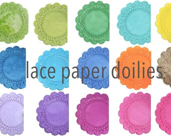 Lace Paper Doilies Cambridge style - Choose your colors Hand dyed doily Tea party round doilies Weddings, Quinceanera, Sweet Sixteen Showers