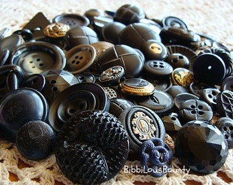 Vintage Buttons Various Sizes and Materials Black