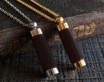 Secret Capsule Necklace Poison Pill Box - Wooden Bottle Vial