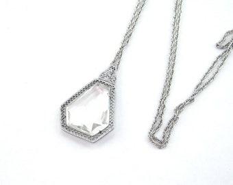 Vintage 1920s filigree pendant | Art Deco filigree crystal pendant | 1920s silver filigree necklace