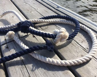 Tied the Knot Wedding Ceremony Rope, 5ft Navy Blue, 5ft Cream, Cream Rope, Cotton Rope, 3ft available, Unity Ceremony, Wedding Rope