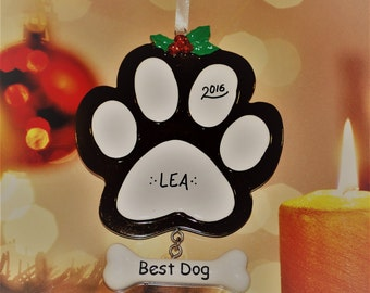 Personalized Paw Print Brown Christmas Ornament