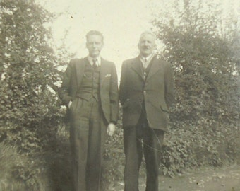 Vintage 1940's Photo - Two Men in Suits Stood Outside