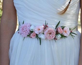 Bridal belt for your wedding - preserved flowers belt
