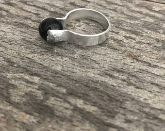 minimalist and rustic black glass ring