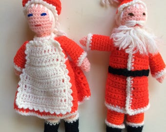 Mr. and Mrs. Santa Hand Knit Dolls