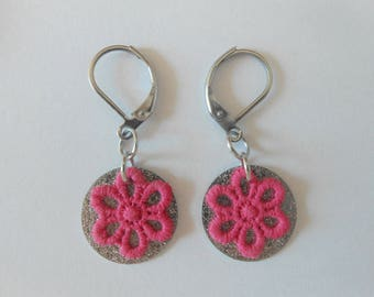 Earrings with spangled sequins and hand-painted pink lace flowers.