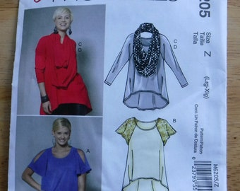 Easy McCalls tops scarf pattern/sewing pattern/Tunic tshirt uncut pattern, L XL loosefitting layering look Lagenlook, easy cold shoulder