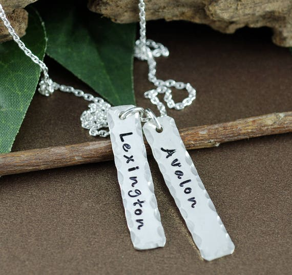 Name Tag Necklace, Necklace for Mom, Hand Stamped Name Necklace, Name Jewelry, Silver Bar Necklace, Gift for Mom, Mothers Necklace
