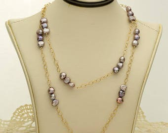 Mauve Pearl Necklace 41.25ct (B84N)