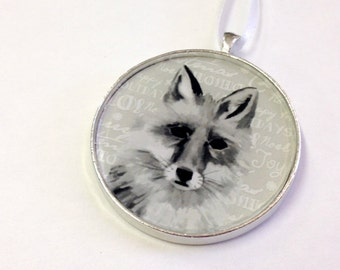 Ornament - Fauna Collection - Fox  (Packaged) - Original artwork with Holiday themed background - most popular