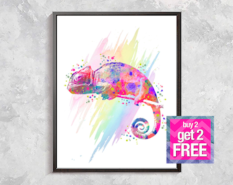 Сhameleon print, Сhameleon art, Сhameleon rainbow art, Сhameleon watercolor print, Сhameleon poster, Сhameleon decor, digital download
