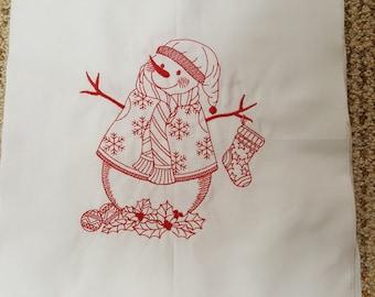 Redwork Snowman Quilt Squares, White Cotton Fabric Quilt Squares, 10 Cotton Fabric Squares