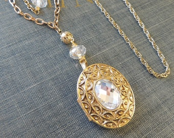 Vintage Assemblage Locket Necklace  / Vintage Chain / Blown Glass Bead  / Avon  / OOAK / Assemblage Jewelry / Repurposed / Gold Jewelry