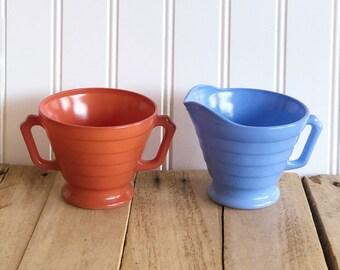 Vintage Orange & Blue Milk Glass Hazel Atlass Cream and Sugar Bowls