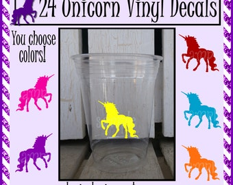 24 Unicorn Birthday Party vinyl decals unicorn party decorations fantasy party stickers vinyl cup sticker vinyl Royal Party cups
