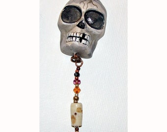 Natural Skull Halloween El Dia de los Muertos OOAK Pendant