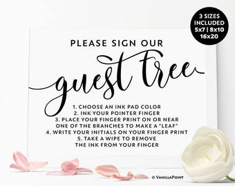 Fingerprint Tree Sign Printable Digital Download, Fingerprint Tree Guestbook Sign Guest Book Wedding Sign, Fingerprint Tree Baby Shower Sign